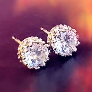 Cubic Zirconia Royal Crown Studs Earrings